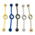 Fashion Surgical Steel Titanium Plated Rainbow Gold Black Industrial Barbell Earring